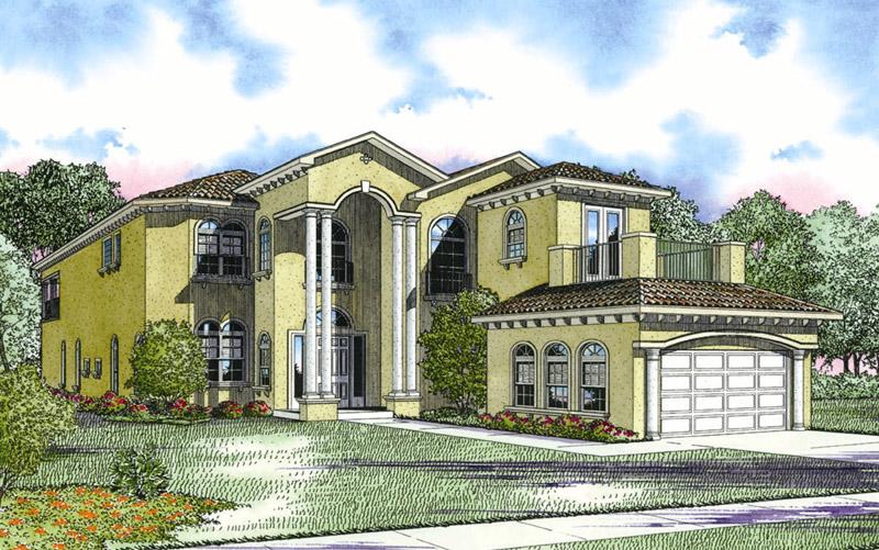 Two story mediterranean style house floor plan 4718 0117 for Two story mediterranean house plans