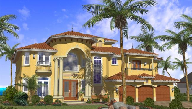 Luxury House Plan Rendering